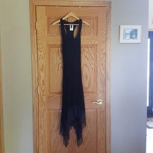 Long black maxi dress chiffon hem lightweight bcbg